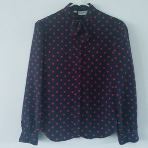 Vintage navy and red polka dot pussy bow blouse 10